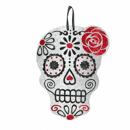 Day of the Dead Glitter Skull Sign (Halloween Party Sign)
