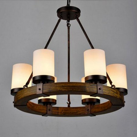 Lightinthebox Vintage Old Wood Wooden Chandeliers Painting Finish Country Rustic Pendant Uplight Chandelier Lighting Lamp For