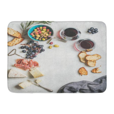 GODPOK Wine and Snack Variety of Cheese Olives in Ceramic Bowl Prosciutto Roasted Baguette Slices Black Grapes Rug Doormat Bath Mat 23.6x15.7 inch