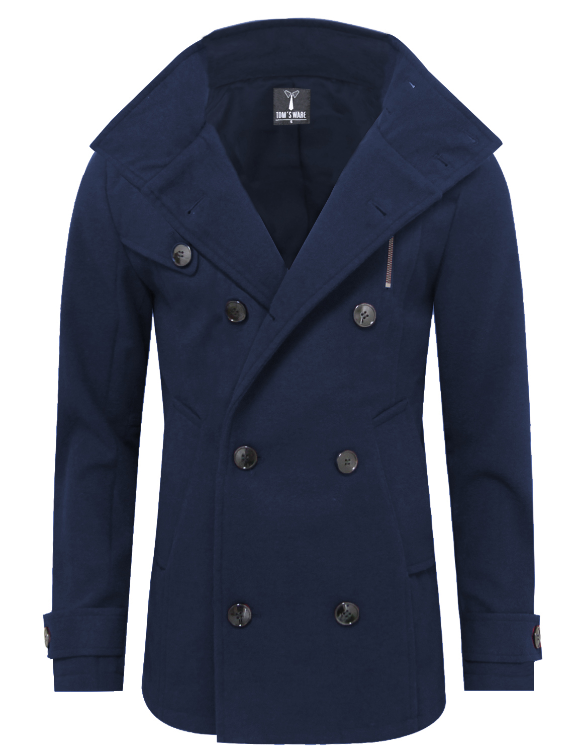 TAM WARE Mens Stylish Fashion Classic Wool Double Breasted Pea Coat by TAM WARE