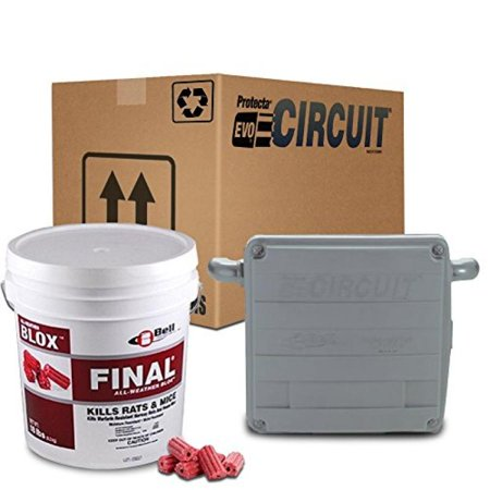 Protecta EVO Circuit Rat Bait Station 1 Case/ 6 Stations (GRAY) + Final Rat Bait Blox (18lb. Pail) Combo Pack