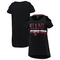 Miami Heat G-III 4Her by Carl Banks Women's Nothing but Net Cold Shoulder Scoop Neck T-Shirt - Black