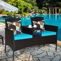Goplus Patio Rattan Conversation Set Loveseat Sofa Cushioned Coffee Table Turquoise