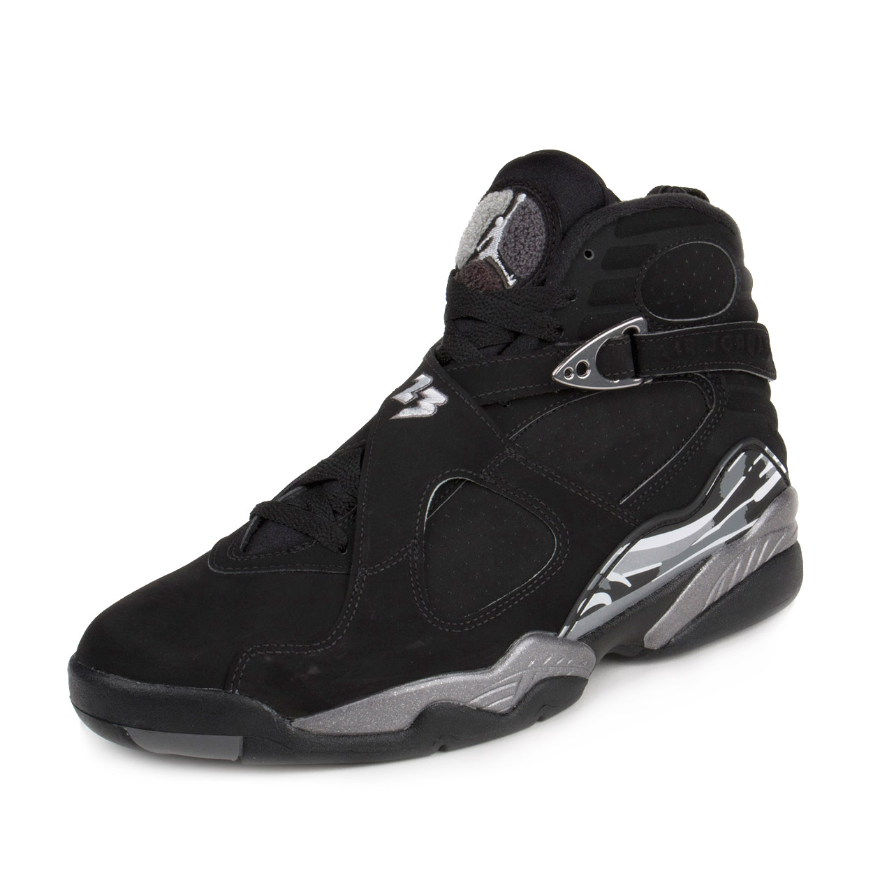2adb62e9bb4 ... sweden nike mens air jordan 8 retro chrome black white light graphite  305381 69fac 9f3d8