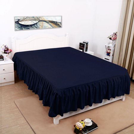 Pleated Bed Skirts Polyester Solid Dust Ruffle 14 Inch Drop Navy Blue, 40 - image 6 de 8