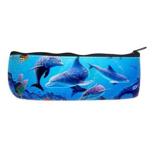 POPCreation The Underwater World Dolphin School Pencil Case Pencil Bag Zipper Organizer Bag