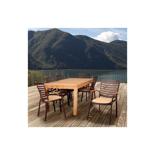 Amazonia Teak  Clemson 7-piece Aluminum Rectangular Patio Dining Set