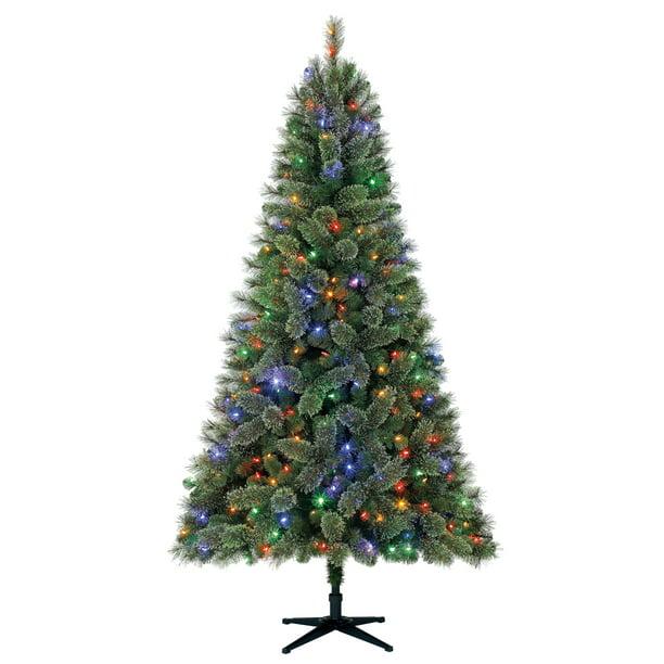 Holiday Time Prelit Full Pine Christmas Tree 7 5 Ft Green Walmart Com Walmart Com