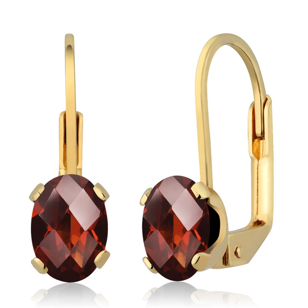 1.60 Ct Oval Checkerboard Red Garnet Gold Plated 4-prong Leverback Earrings