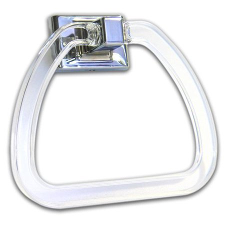 Acrylic Towel Ring Solid Metal Body with Acrylic Ring, Chrome Plated Finish ()