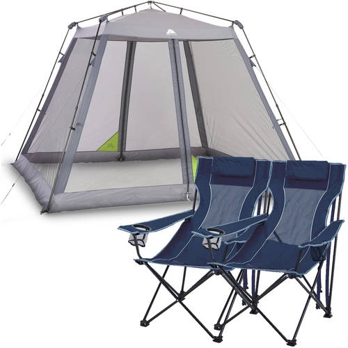 Ozark Trail 10u0027 x 10u0027 Instant Screen Canopy with 2 Chairs Value Bundle  sc 1 st  Walmart & Screen Shelters