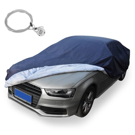 Universal Fit Car Cover All Weather Breathable Full Waterproof Snow Rain Dust Wind Resistant With Lock Outdoor Indoor(Fits up to 188 Inches, PEVA, Dark