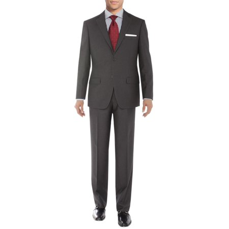 Sharkskin Jacket (Salvatore Exte Men's Suit Two Button Side Vent Jacket Flat Front Pants Sharkskin Gray )