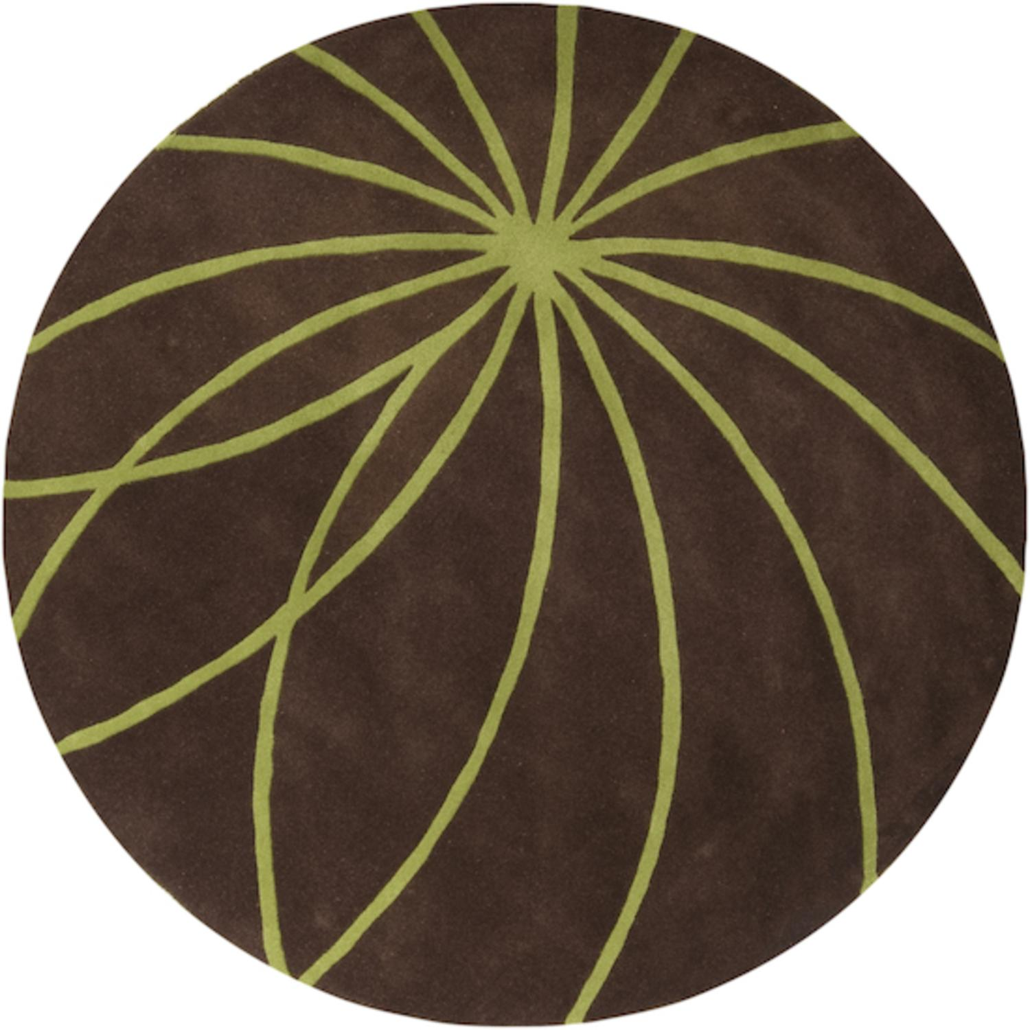 9.75' Plasma Elektra Contemporary Moss Green and Brown Wool Round Area Throw Rug