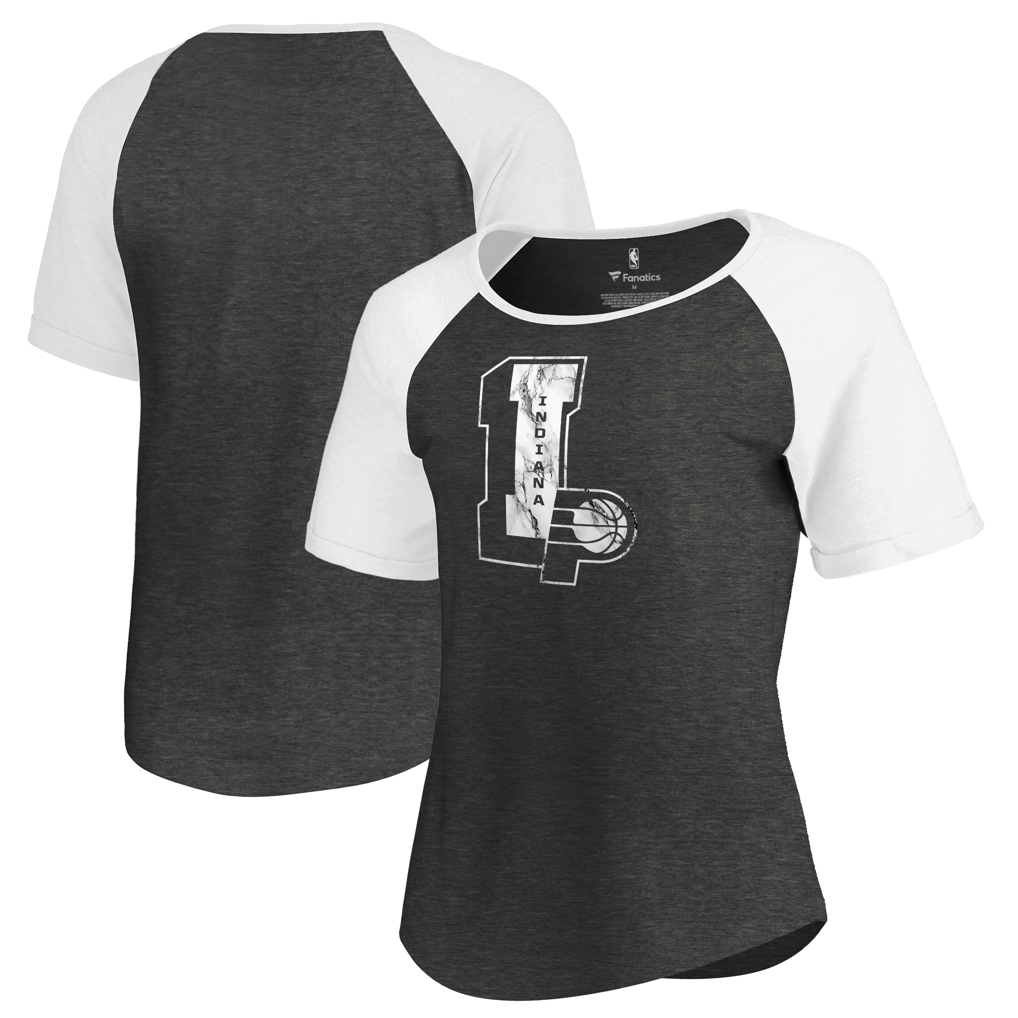 Indiana Pacers Fanatics Branded Women's Letterman Tri-Blend Raglan T-Shirt - Black