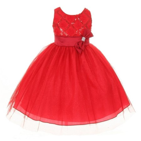 Girls Red Organza Sequin Sparkle Tulle Special Occasion Dress 16 for $<!---->