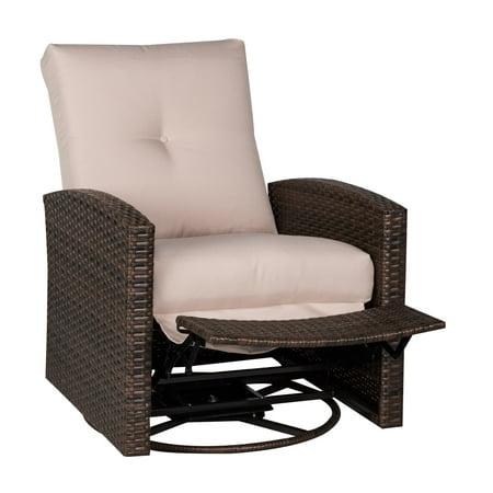 Deluxe Swivel Rattan Wicker Sofa Chair, Patio Furniture Swivel Rocker Recliner