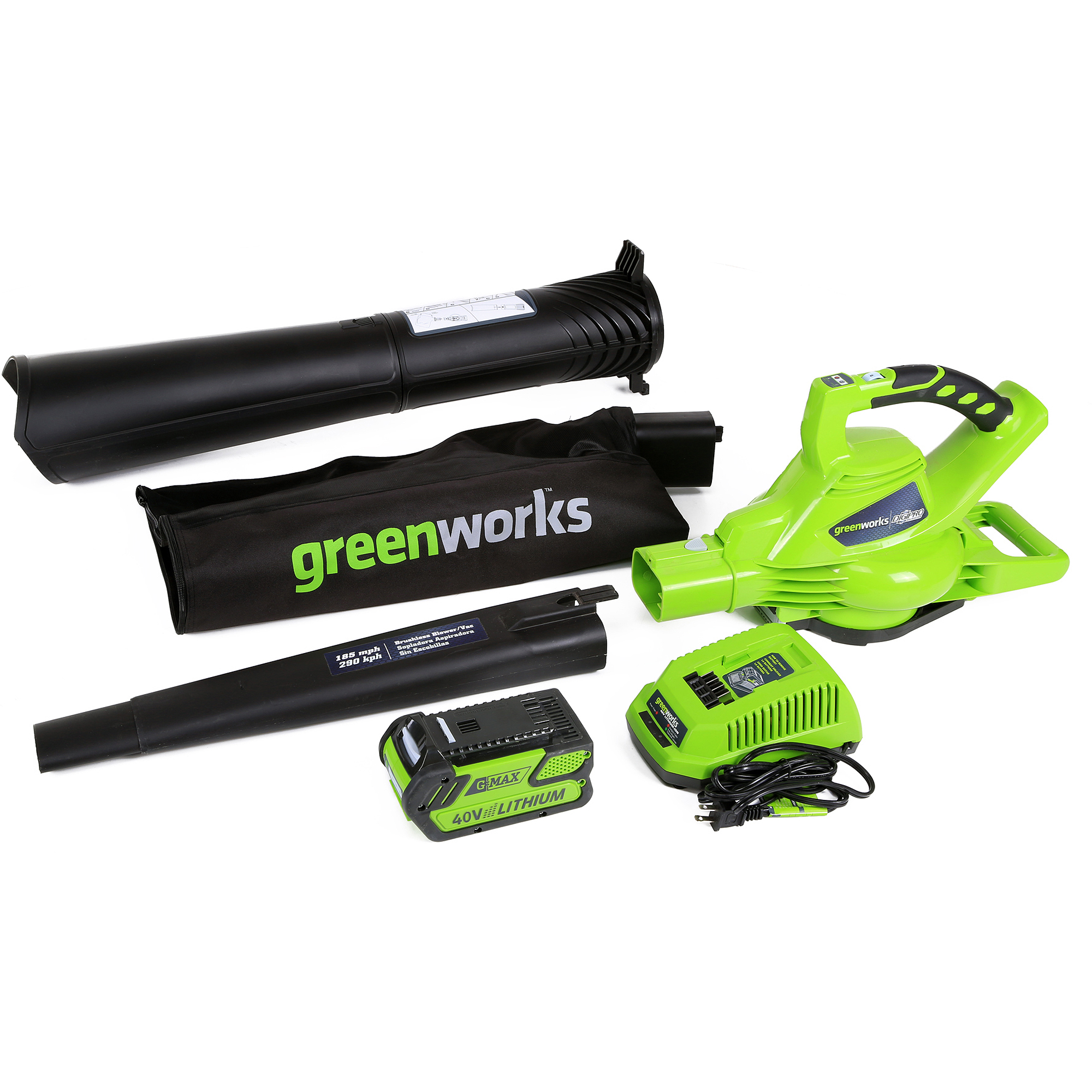 GreenWorks 24322 40V Brushless Leaf Blower, Includes 4.0Ah battery and charger