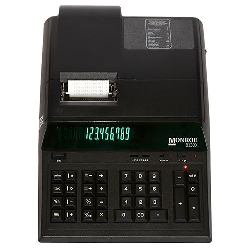 Monroe 8130X In Black 12-Digit Print/Display Professional Heavy Duty Printing Calculator In Extended Life Calculator Body (Calculator, Black)