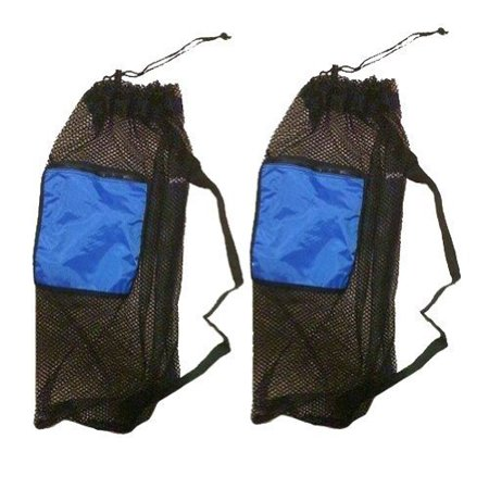 101SNORKEL 2 PACK Mesh Drawstring Snorkel Bag with Blue Zip Pocket