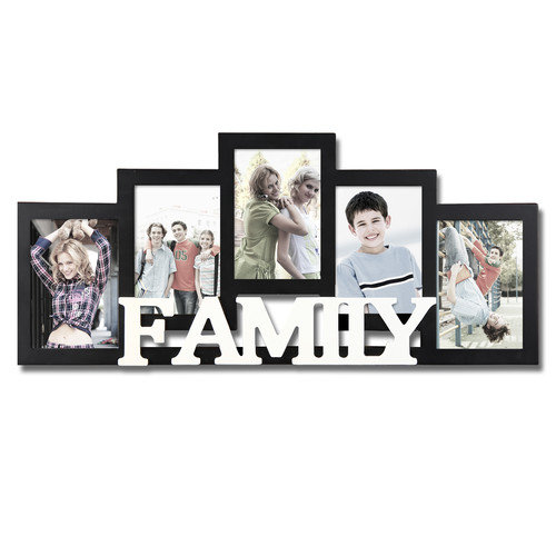Adeco Trading 5 Opening Wooden Photo Collage Wall Hanging Picture Frame