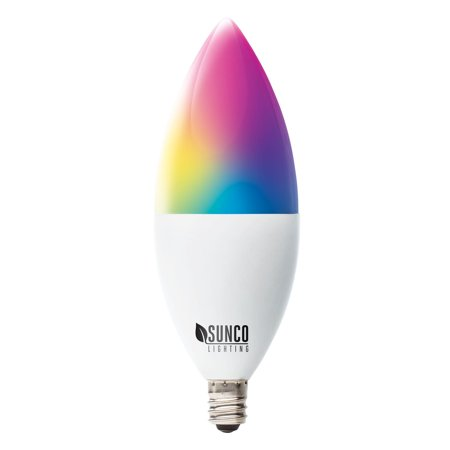 Sunco Lighting WiFi LED B11 Candelabra Smart Bulb, 4.5W, Color Changing (RGB & CCT), Dimmable, 480 lm, E12 Base, No Hub Required, Compatible with Various Smart Home Devices - 1 Pack Color Changing Led Bulb