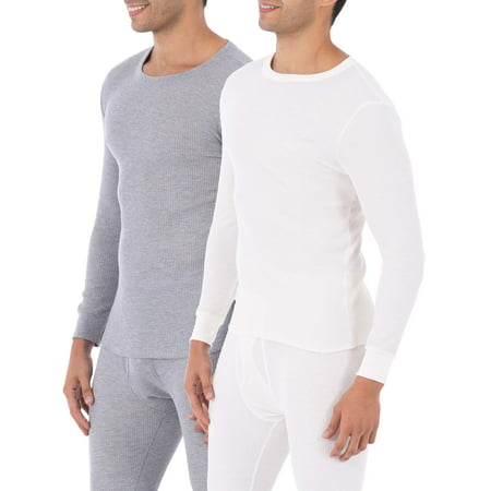 Fruit of the Loom Super Value Men's Classic Crew Top Thermal Underwear for Men, 2 Pack (2 Crew - Eskimo Suits