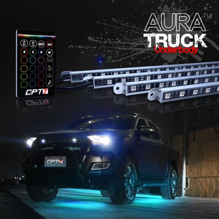 AURA® 4pc Truck SUV Underbody LED Lighting Kit - Full Color Spectrum - Smart-Color™ Strips - Aluminum Build - E-Z (Underbody Led Kits)