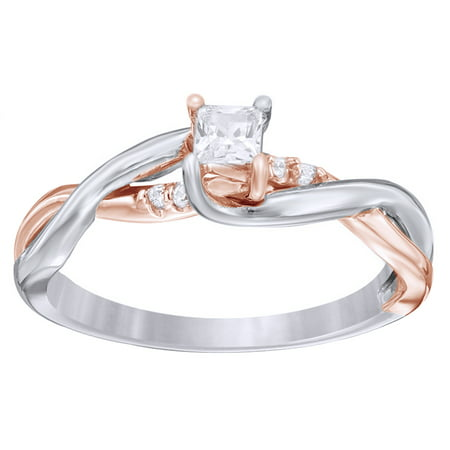 Princess Cut White Natural Diamond Twist Shank Promise Ring in 10k Two-Tone Solid Gold By Jewel Zone