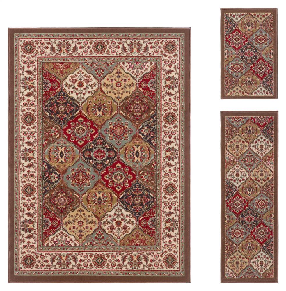 3-Pc Transitional Area Rug Set in Multicolor