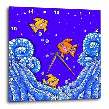 3dRose Folk Art, Painting, Whimsical Fish, Ocean Waves, Seascape, Wall Clock, 10 by 10-inch