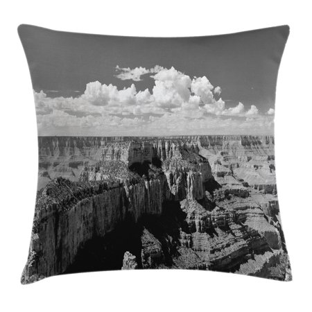 House Decor Throw Pillow Cushion Cover  Nostalgic Photo Of Ethnic Finding Grand Canyon Peaks In National Park With Cloud  Decorative Square Accent Pillow Case  20 X 20 Inches  Grey  By Ambesonne