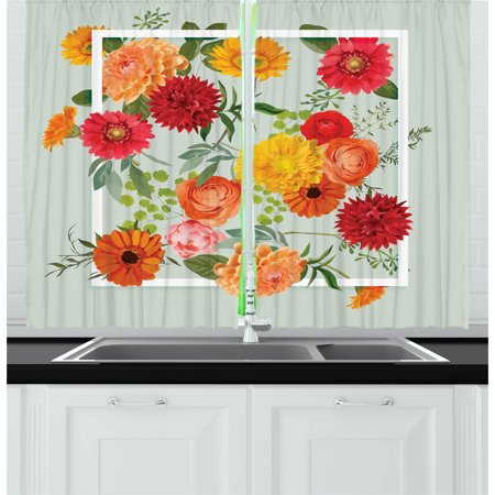 floral shabby chic living room   Shabby Chic Curtains 2 Panels Set, Floral Flowers Leaves ...