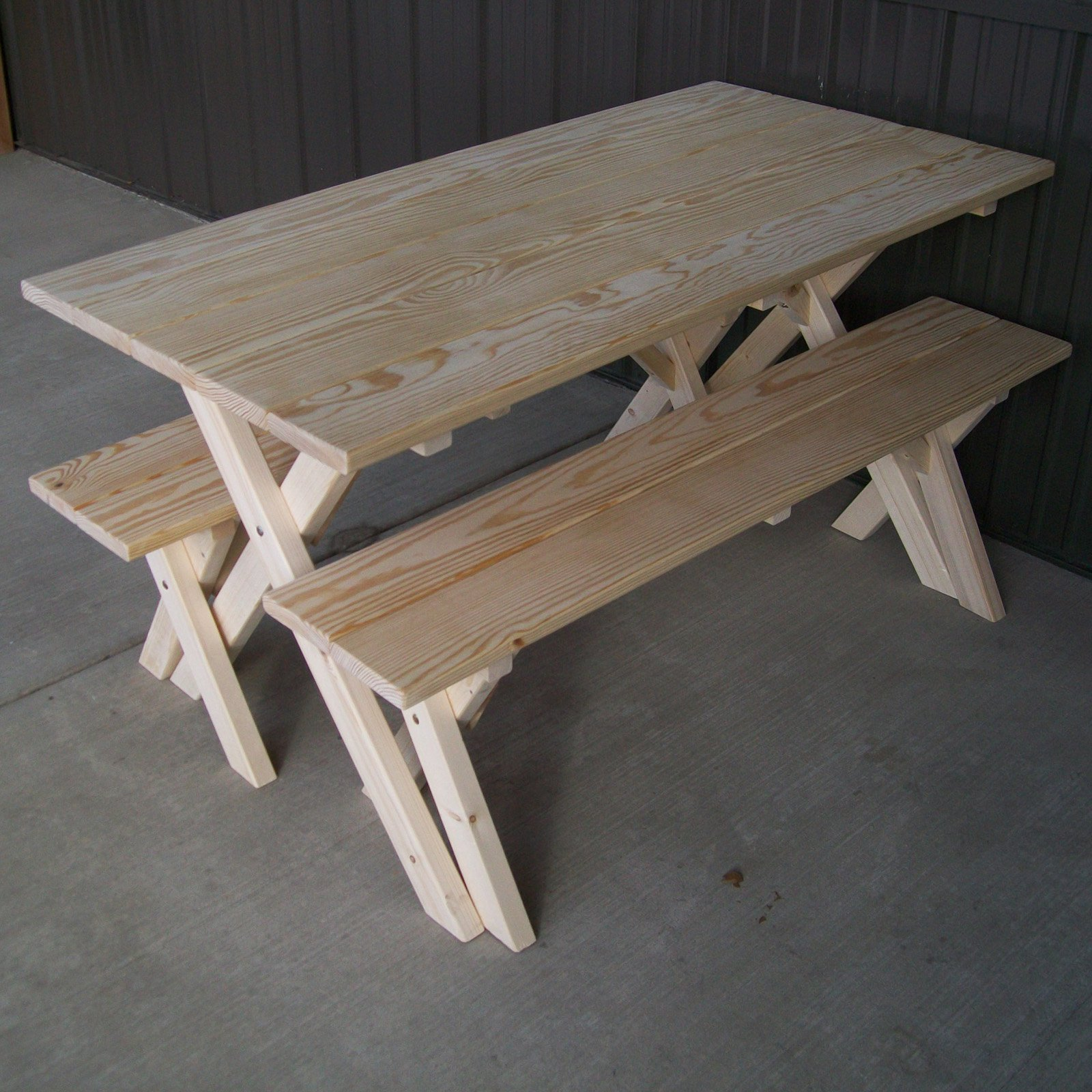 A U0026amp; L Furniture Pine Cross Legged Picnic Table With Benches    Walmart.com