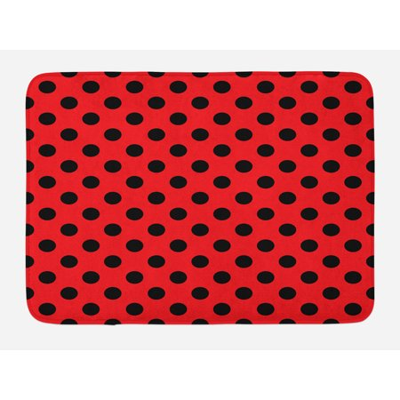 Red and Black Bath Mat, Retro Vintage Pop Art Theme Old 60s 50s Rocker Inspired Bold Polka Dots Image, Non-Slip Plush Mat Bathroom Kitchen Laundry Room Decor, 29.5 X 17.5 Inches, Scarlet, Ambesonne - 50s Rocker