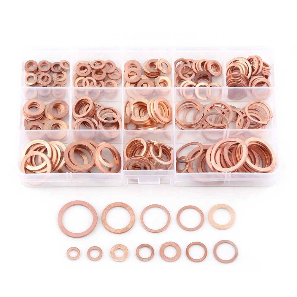 12 Sizes 280pcs for Machine Equipment and to Reduce Vibration Pre-Load Indicating Device Plain Washers with a Hole Thin Disk-Shaped Plate