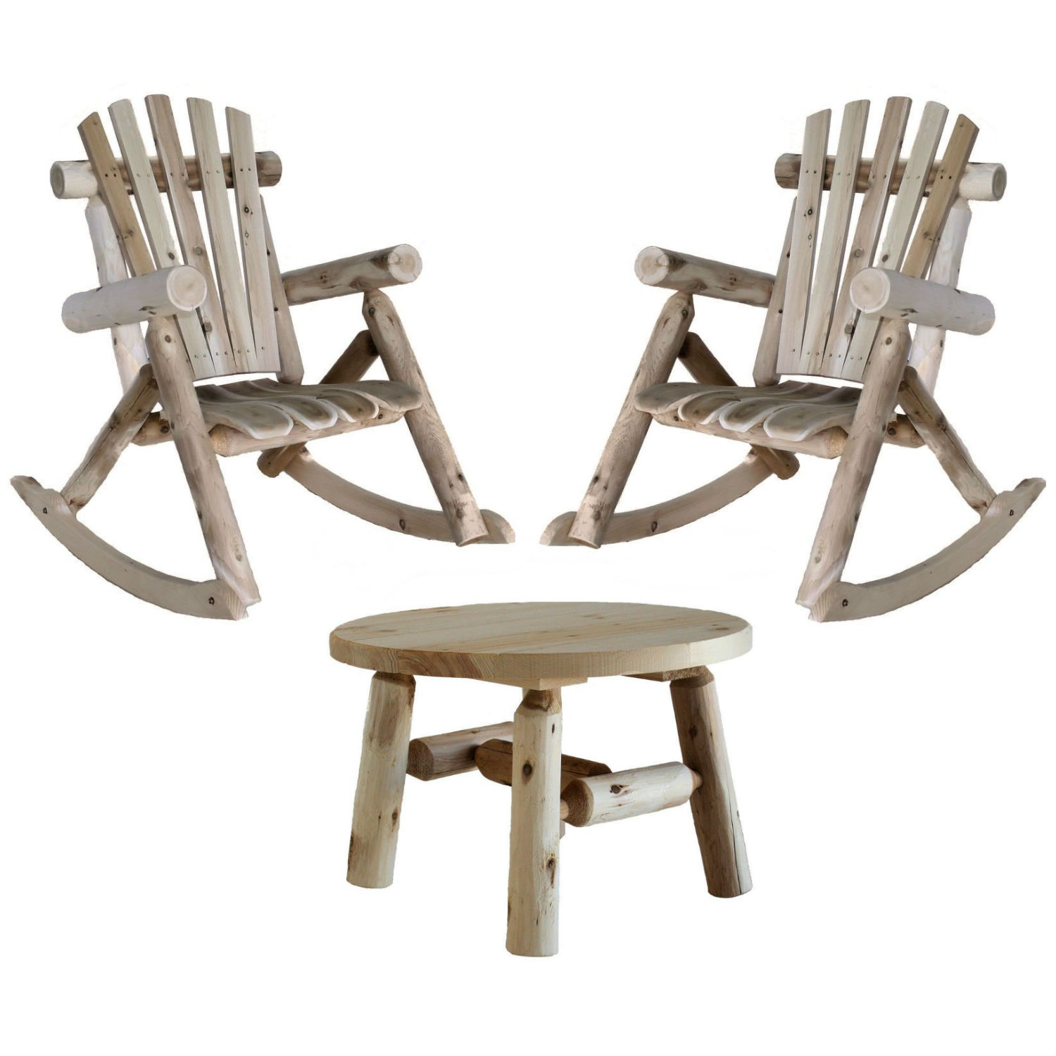 Lakeland Mills Patio Rocking Chair (Set of 2) with Round Table