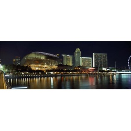 Concert hall at the waterfront Esplanade Theater The Singapore Flyer Singapore River Singapore Stretched Canvas - Panoramic Images (18 x 7) - Halloween Concert Flyer