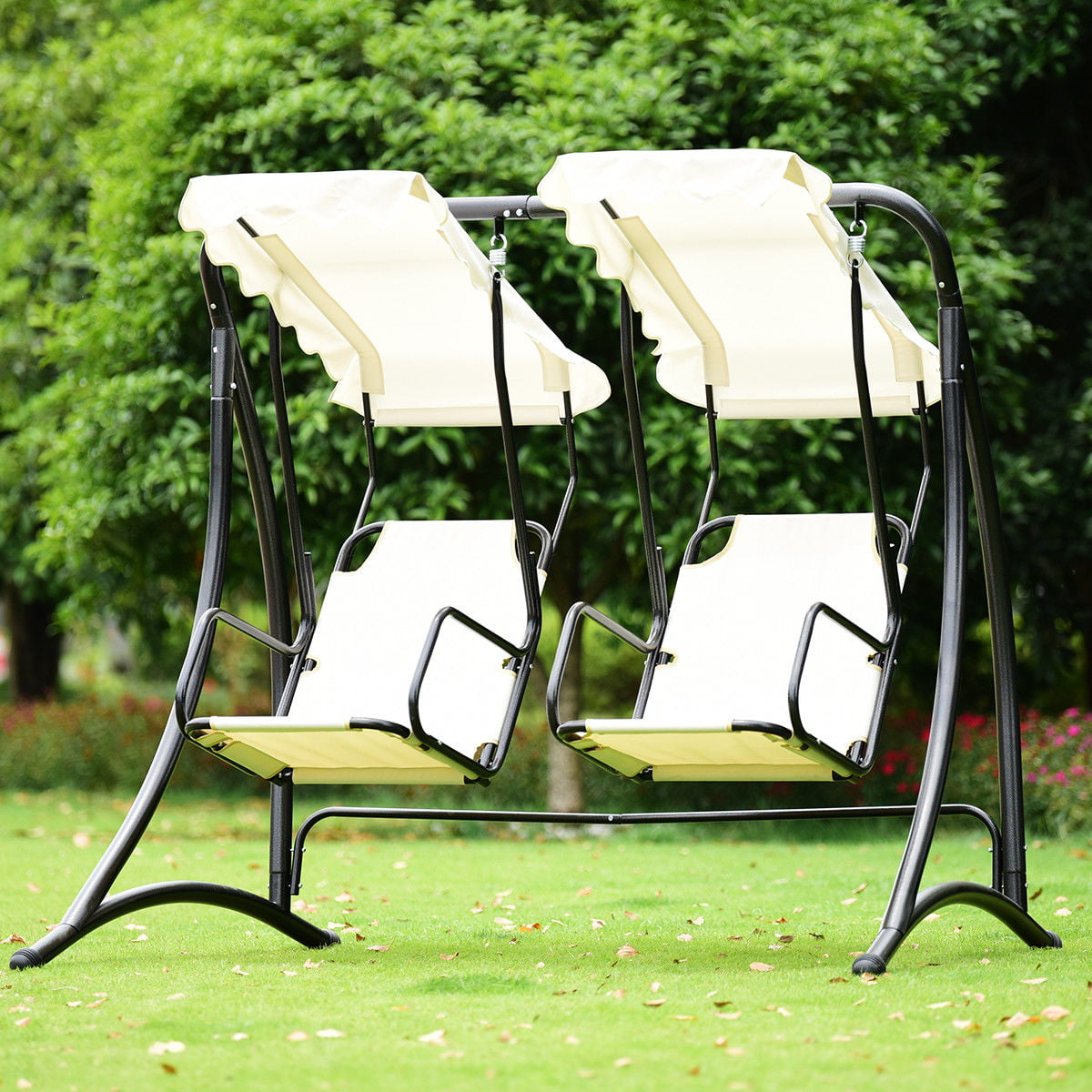 Patio Outdoor 3 Person Hanging Canopy Swing Chair Hammock Seat Sofa Coffee White