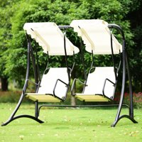Product Image Gymax 2 Person Hammock Porch Swing Patio Outdoor Hanging Loveseat Canopy Glider