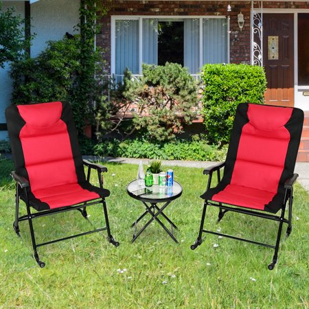 Cool Costway 3 Pcs Outdoor Folding Rocking Chair Table Set Bistro Gmtry Best Dining Table And Chair Ideas Images Gmtryco