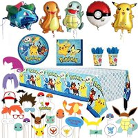 Birthday Party Favor Supplies Pack For 16 Pokemon Guests With Plates, Beverage Napkins, Table cover, Cups - Balloons and 26 Photo Props