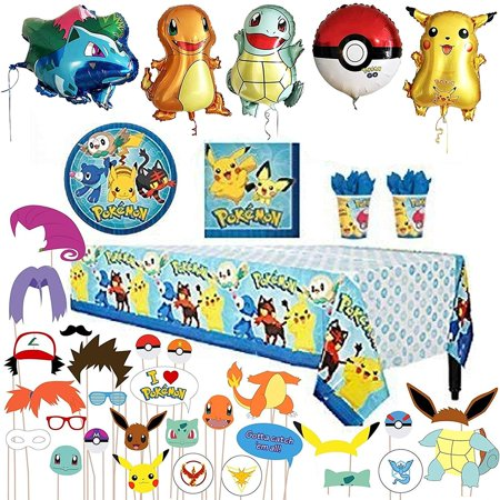 Pokemon Birthday Party Favors (Birthday Party Favor Supplies Pack For 16 Pokemon Guests With Plates, Beverage Napkins, Table cover, Cups - Balloons and 26 Photo)