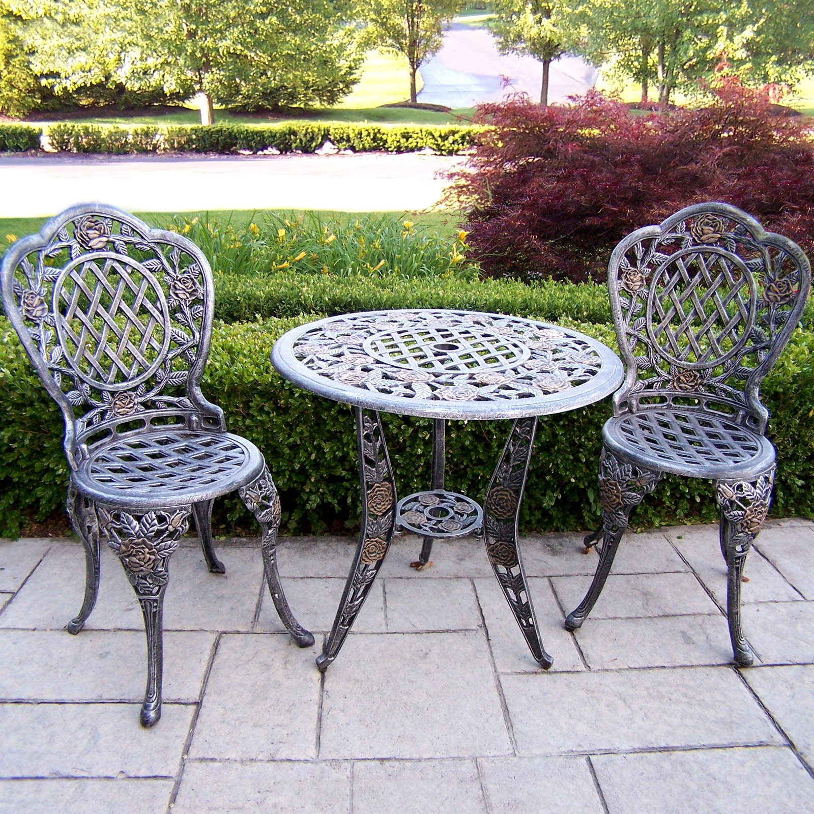 Oakland Living Tea Rose Cast Aluminum Bistro Set