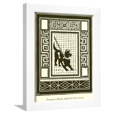 Pompeian Mosaic, Called the Cave Canem Framed Print Wall Art