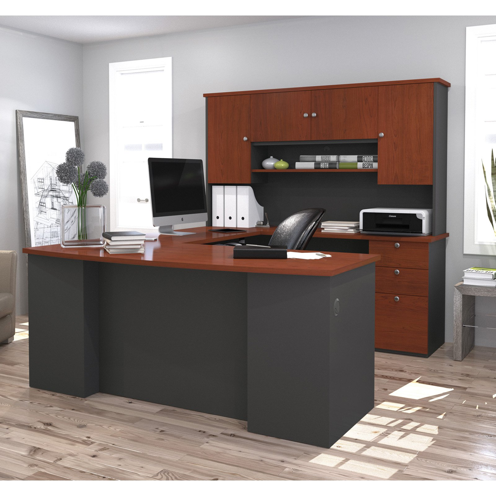 bestar manhattan u shaped workstation bordeaux graphite walmart com rh walmart com bestar ridgeley u-shaped desk in dark chocolate and white chocolate bestar ridgeley u-shaped desk with lateral file and bookcase