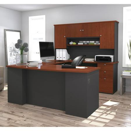 Bestar Executive Collection (Bestar Manhattan U-shaped Workstation, Bordeaux & Graphite)