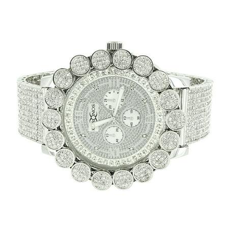 Flower Bezel Watch White Gold Finish Genuine Diamond Khronos Full Iced Out 3 Time Zone