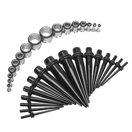 12g Gauge - BodyJ4You Gauge Kit 32 Pieces Black Acrylic Tapers & Stainless Steel Tunnels 12G 10G 8G 6G 4G 2G 0G 00G