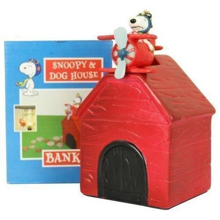 Peauts Snoopy Red Barron Dog House Bank Kids Piggy Banks Ceramic Bonus Light/Fan Pull - See Through Piggy Bank